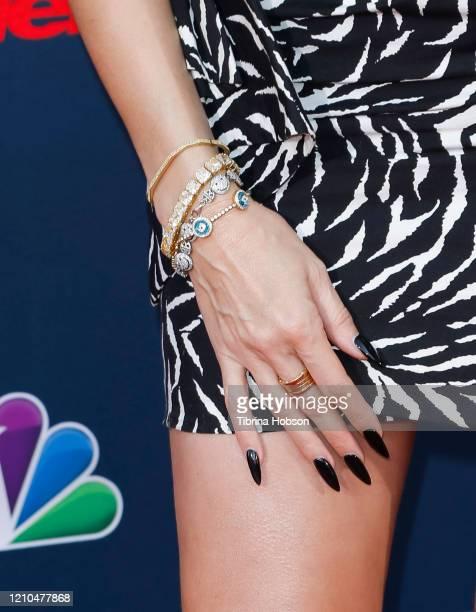 Heidi Klum fashion detail attends the America's Got Talent Season 15 Kickoff at Pasadena Civic Auditorium on March 04 2020 in Pasadena California