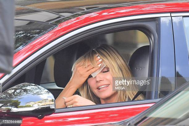 "Heidi Klum filming a segment for ""America's Got Talent"" on April 25, 2021 in Los Angeles, California."