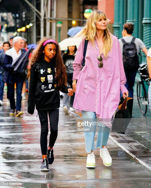 Heidi Klum goes shopping in Soho with her daughter Lou Samuel on June 20, 2019 in New York City.