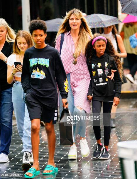 Heidi Klum goes shopping in Soho with her kids Helene Samuel, Henry Samuel and Lou Samuel on June 20, 2019 in New York City.