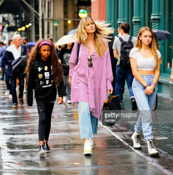 Heidi Klum goes shopping in Soho with her kids Lou Samuel and Helene Samuel on June 20, 2019 in New York City.