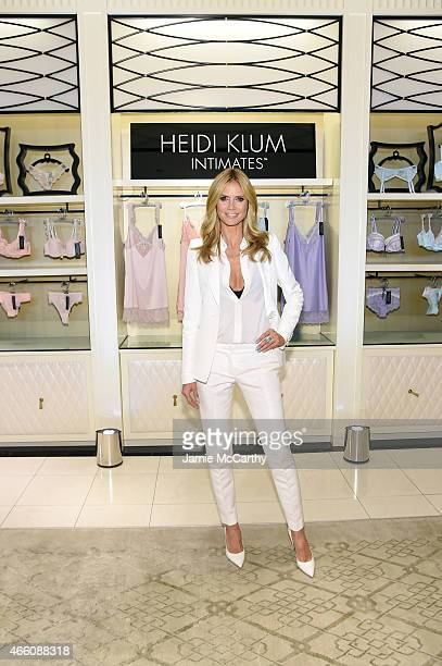 Heidi Klum greets her fans for the launch of her first lingerie collection Heidi Klum Intimates at Bloomingdale's 59th Street Store on March 13 2015...