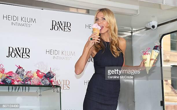 Heidi Klum hands out gifts from the Heidi Klum Intimates Lingerie Truck at David Jones on January 28 2016 in Sydney Australia
