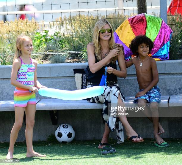 Heidi Klum, Helene Boshoven Samuel and Johan Riley Fyodor Taiwo Samuel are seen in Tribeca Husdon River Park on June 20, 2013 in New York City.