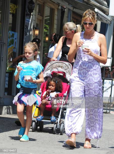 Heidi Klum, Helene Boshoven Samuel and Lou Sulola Samuel are seen in soho at Streets of Manhattan on August 12, 2012 in New York City.
