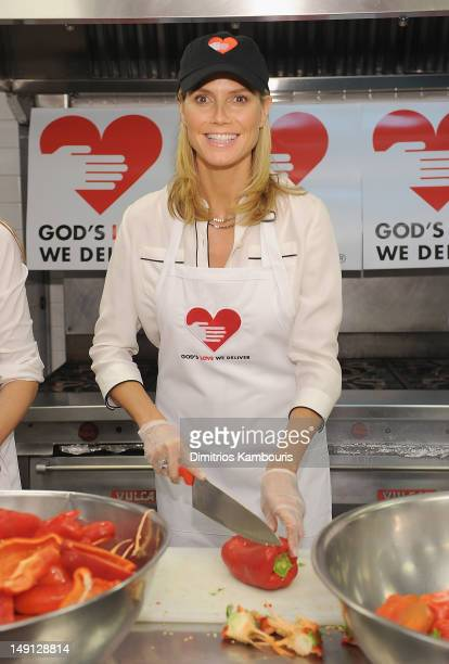 Heidi Klum helps prepare meals at God's Love We Deliver on July 23 2012 in New York City