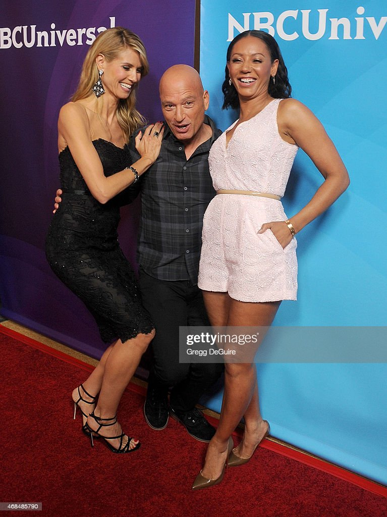 Heidi Klum, Howie Mandel and Mel B arrive at the 2015 NBCUniversal Summer Press Day at The Langham Huntington Hotel and Spa on April 2, 2015 in Pasadena, California.
