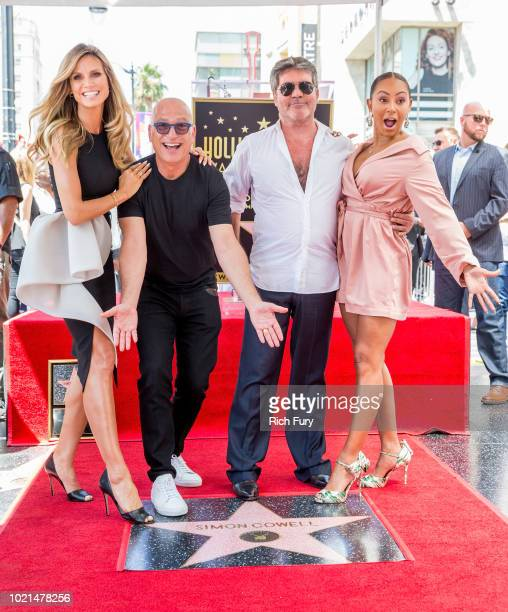 Heidi Klum Howie Mandel Simon Cowell and Mel B attend a ceremony honoring Cowell with a star on the Hollywood Walk of Fame on August 22 2018 in...