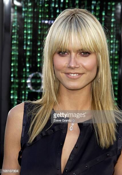 """Heidi Klum in Martin Katz necklace and earrings during """"The Matrix Reloaded"""" Premiere at Mann Village Theatre in Westwood, California, United States."""