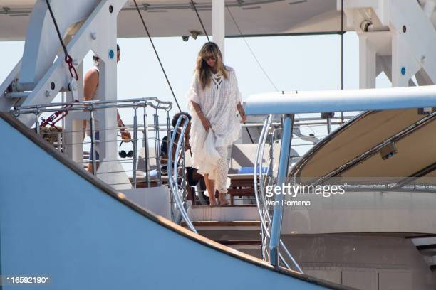 Heidi Klum is seen on the Christina O yacht on her wedding day on August 03 2019 in Capri Italy