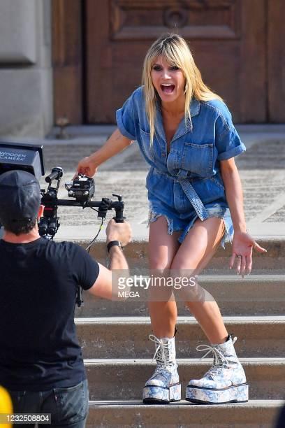 "Heidi Klum is seen on the set of ""America's Got Talent"" on April 24, 2021 in Los Angeles, California."
