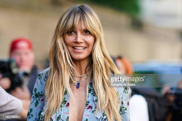 Heidi Klum is seen, outside Valentino, during Paris Fashion Week Haute Couture Fall/Winter 2019/20, on July 03, 2019 in Paris, France.