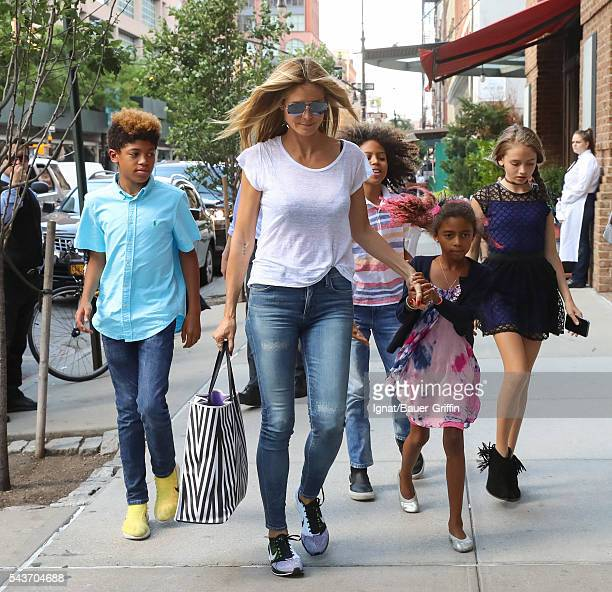 Heidi Klum is seen with her children Henry, Johan, Lou, and Helene on June 29, 2016 in New York City.