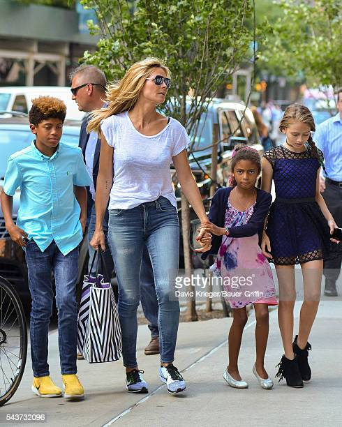 Heidi Klum is seen with her children Henry Lou and Helene on June 29 2016 in New York City