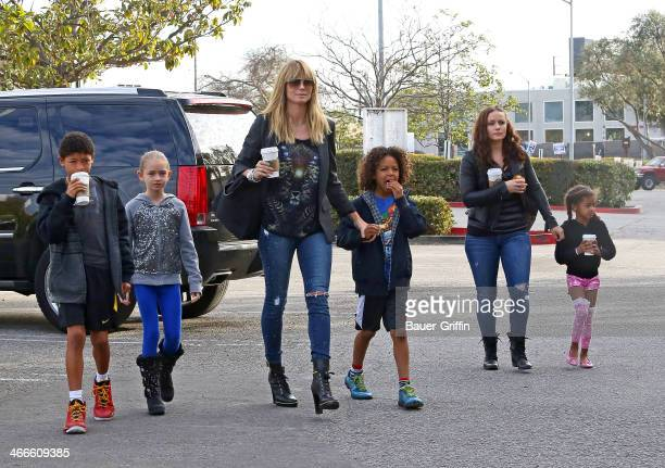 Heidi Klum is seen with her children Henry Samuel Johan Samuel Lou Samuel and Leni Samuel on February 02 2014 in Los Angeles California