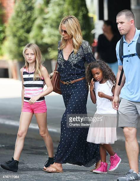 Heidi Klum is seen with her children Leni Samuel and Lou Samuel on June 11, 2015 in New York City.