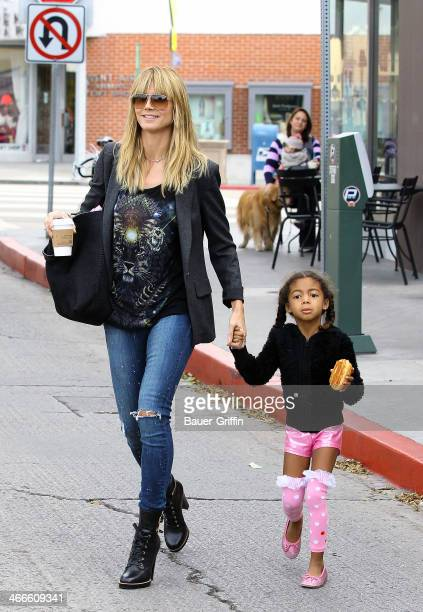 Heidi Klum is seen with her daughter Lou Samuel on February 02 2014 in Los Angeles California