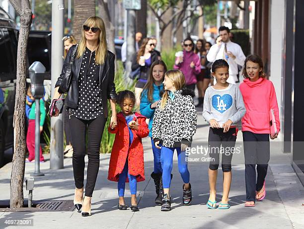Heidi Klum is seen with her daughters Lou Samuel and Leni Samuel on February 16, 2014 in Los Angeles, California.