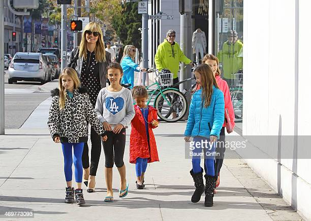 Heidi Klum is seen with her daughters Lou Samuel and Leni Samuel on February 16 2014 in Los Angeles California