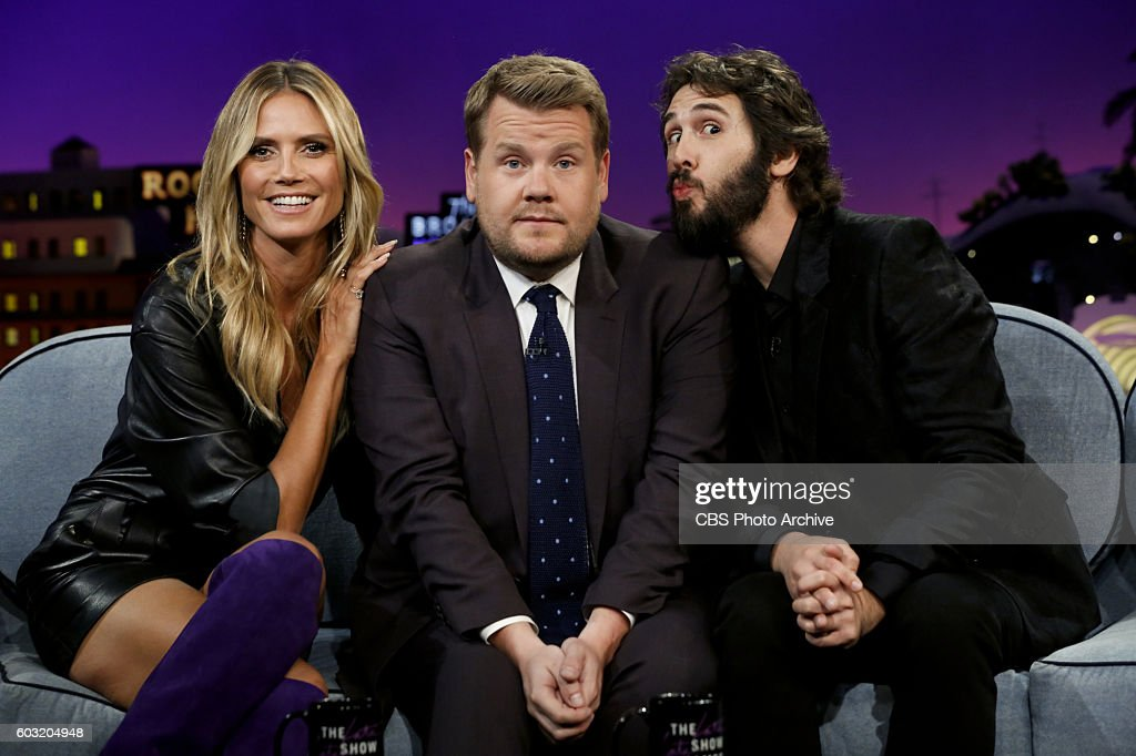 Heidi Klum, James Corden and Josh Groban on 'The Late Late Show with James Corden,' Monday, August 29th 2016, on The CBS Television Network.