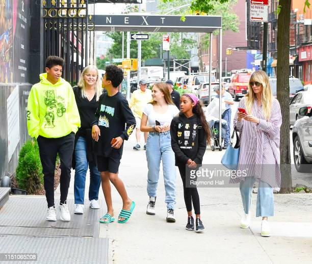 Heidi Klum, Johan Samuel, Helene Klum, Henry Samuel and Lou Sulola Samuel are seen leaving Next Model Management on June 20, 2019 in New York City.
