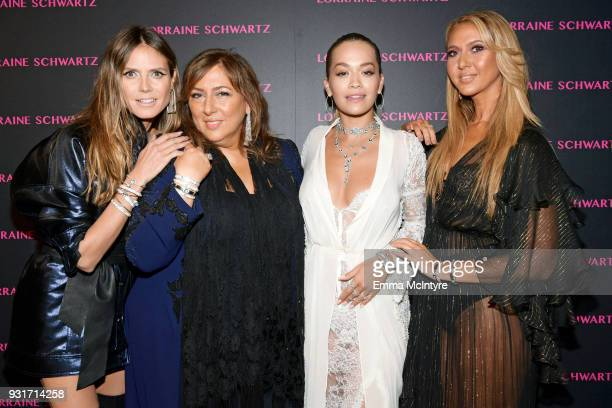 Heidi Klum Lorraine Schwartz Rita Ora and Ofira Sandberg attend Lorraine Schwartz launches The Eye Bangle a new addition to her signature Against...