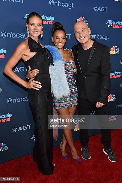 Heidi Klum Mel B and Howie Mandel attend the 'America's Got Talent' Season 11 Live Show at Dolby Theatre on August 23 2016 in Hollywood California