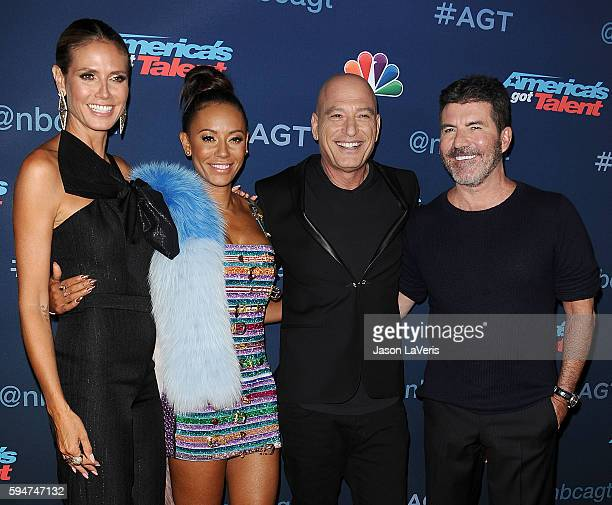 Heidi Klum Mel B Howie Mandel and Simon Cowell attend the America's Got Talent season 11 live show at Dolby Theatre on August 23 2016 in Hollywood...