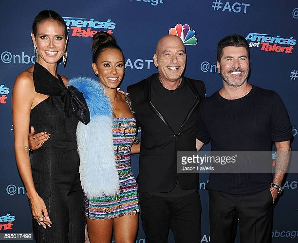 Heidi Klum Mel B Howie Mandel and Simon Cowell attend the 'America's Got Talent' season 11 live show at Dolby Theatre on August 23 2016 in Hollywood...