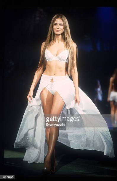 Heidi Klum models lingerie February 3 1999 at the Victoria's Secret Fashion Show in New York City The fantasy and myth theme of this year's...