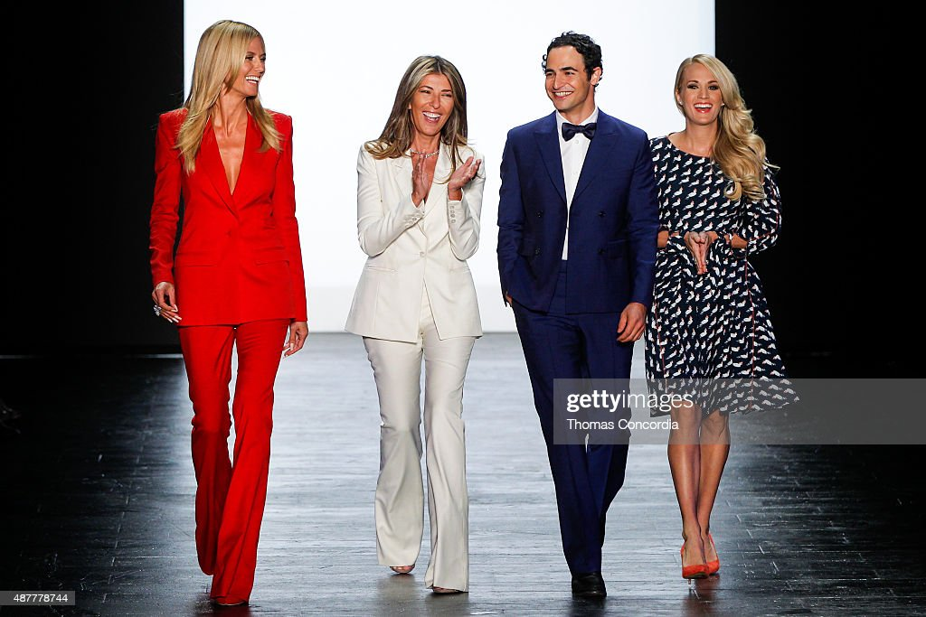 Heidi Klum, Nina Garcia, Zac Posen and Carrie Underwood greets the audience before presenting the Project Runway Season 14 fashion show at The Arc, Skylight at Moynihan Station on September 11, 2015 in New York City.