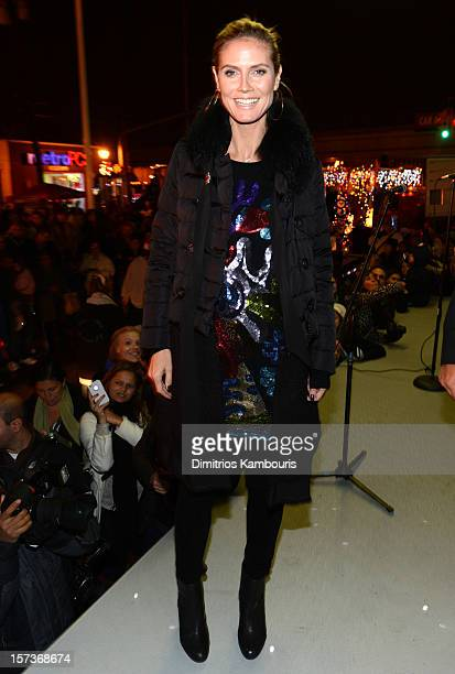 Heidi Klum participates in a tree lighting ceremony as she teams up with friends at AOL Patch and The American Red Cross to benefit Hurricane Sandy...