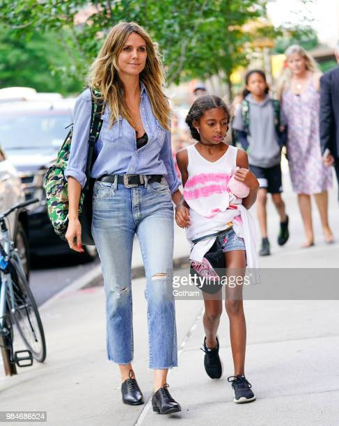 Heidi Klum pick her daughter Lou Samuel up from school on June 26, 2018 in New York City.
