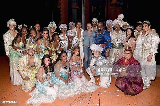 Heidi Klum poses backstage with the cast of Disney's 'Aladdin The Musical' On Broadway at New Amsterdam Theatre on June 27 2015 in New York City