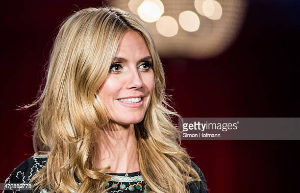 Heidi Klum poses during a photo call for the tv show 'Germany's Next Topmodel' on May 10 2015 in Heidelberg Germany The final of the 10th GNTM season...