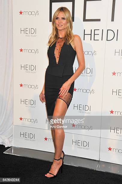 Heidi Klum poses for photographers as part of her 'Heidi Klum Hosts Lingerie Party' at Macy's Herald Square on June 23 2016 in New York City