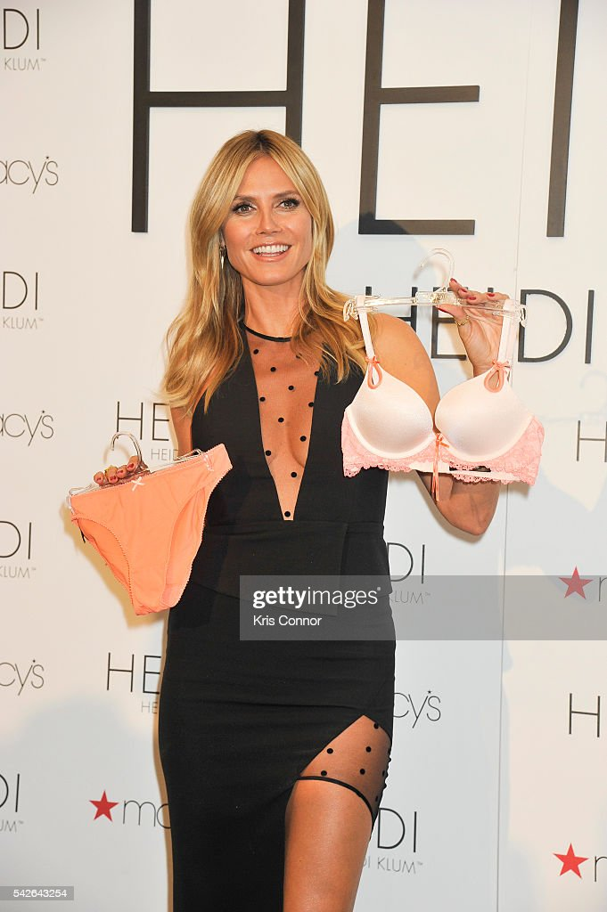 Heidi Klum poses for photographers as part of her 'Heidi Klum Hosts Lingerie Party' at Macy's Herald Square on June 23, 2016 in New York City.