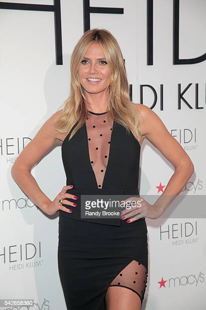 Heidi Klum poses on Macy's 6th floor during the Heidi Klum Hosts Lingerie Party at Macy's Herald Square on June 23 2016 in New York City