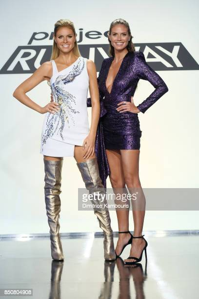 Heidi Klum poses with her wax figure on the set of Project Runway at Gum Studios on September 8 2017 in the Long Island City neighborhood of the...