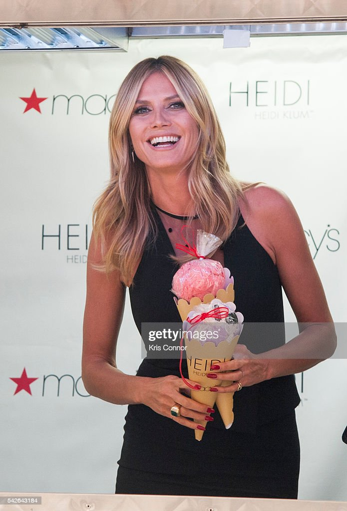 Heidi Klum poses with models and hands out lingerie and ice cream during her 'Heidi Klum Hosts Lingerie Party' at Macy's Herald Square on June 23, 2016 in New York City.