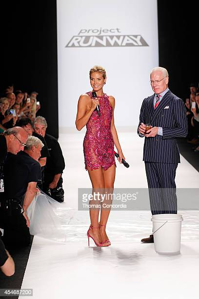 Heidi Klum prepares Tim Gunn for the ALS Ice Bucket Challenge at Project Runway during MercedesBenz Fashion Week Spring 2015 at The Theatre at...