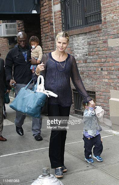 Heidi Klum Seal son Henry and daughter Leni during Heidi Klum and Seal Sighting with Family in Chelsea September 5 2006 in New York City New York...