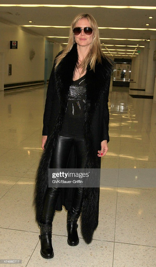 Heidi Klum seen at LAX airport on February 23, 2014 in Los Angeles, California.