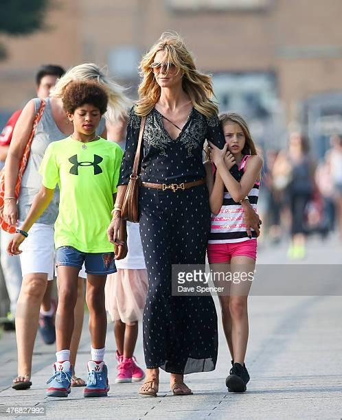Heidi Klum seen enjoying an ice cream with her family daughters Lou Sulola Samuel Helene Boshoven Samuel and son Johan Riley Fydor Taiwo Samuel on...