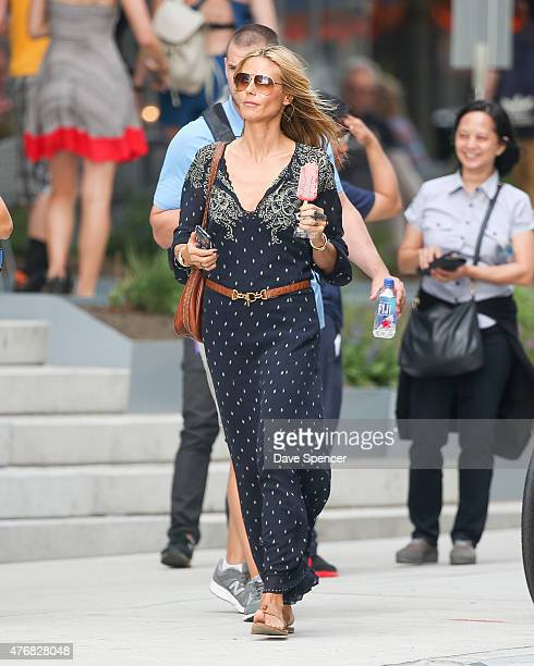 Heidi Klum seen out with her family daughters Lou Sulola Samuel , Helene Boshoven Samuel and son Johan Riley Fydor Taiwo Samuel on June 11, 2015 in...