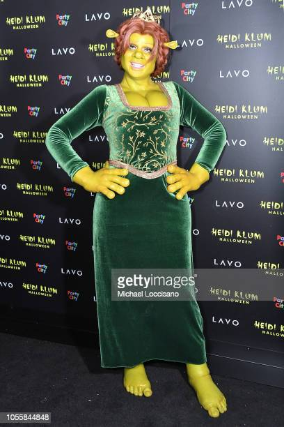 Heidi Klum shows up dressed as Princess Fiona from Shrek to her 19th Annual Halloween Party at Lavo on October 31 2018 in New York City