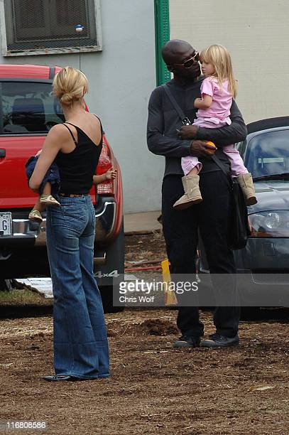 Heidi Klum son Johan Seal and daughter Leni on October 13 2007 in Los Angeles California