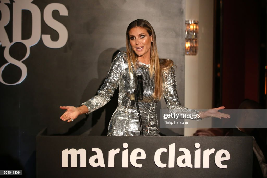 Heidi Klum speaks on stage at the Marie Claire's Image Makers Awards 2018 on January 11, 2018 in West Hollywood, California.