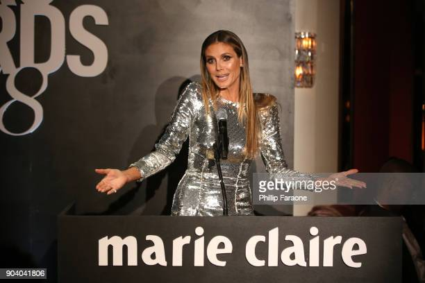 Heidi Klum speaks on stage at the Marie Claire's Image Makers Awards 2018 on January 11 2018 in West Hollywood California