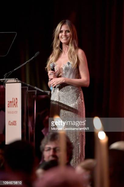 Heidi Klum speaks onstage during the amfAR New York Gala 2019 at Cipriani Wall Street on February 6 2019 in New York City